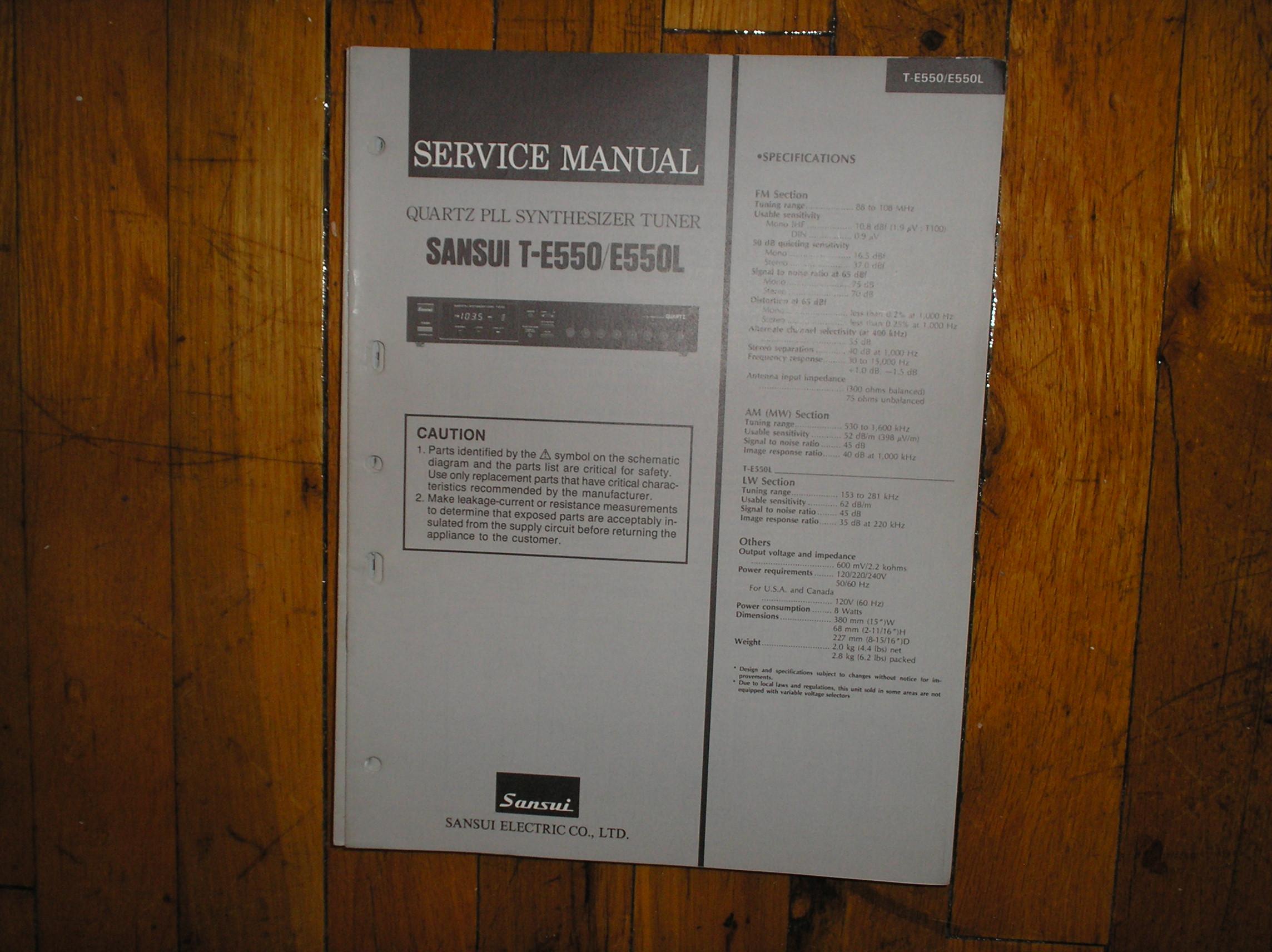 T-E550 T-E550L Tuner Service Manual