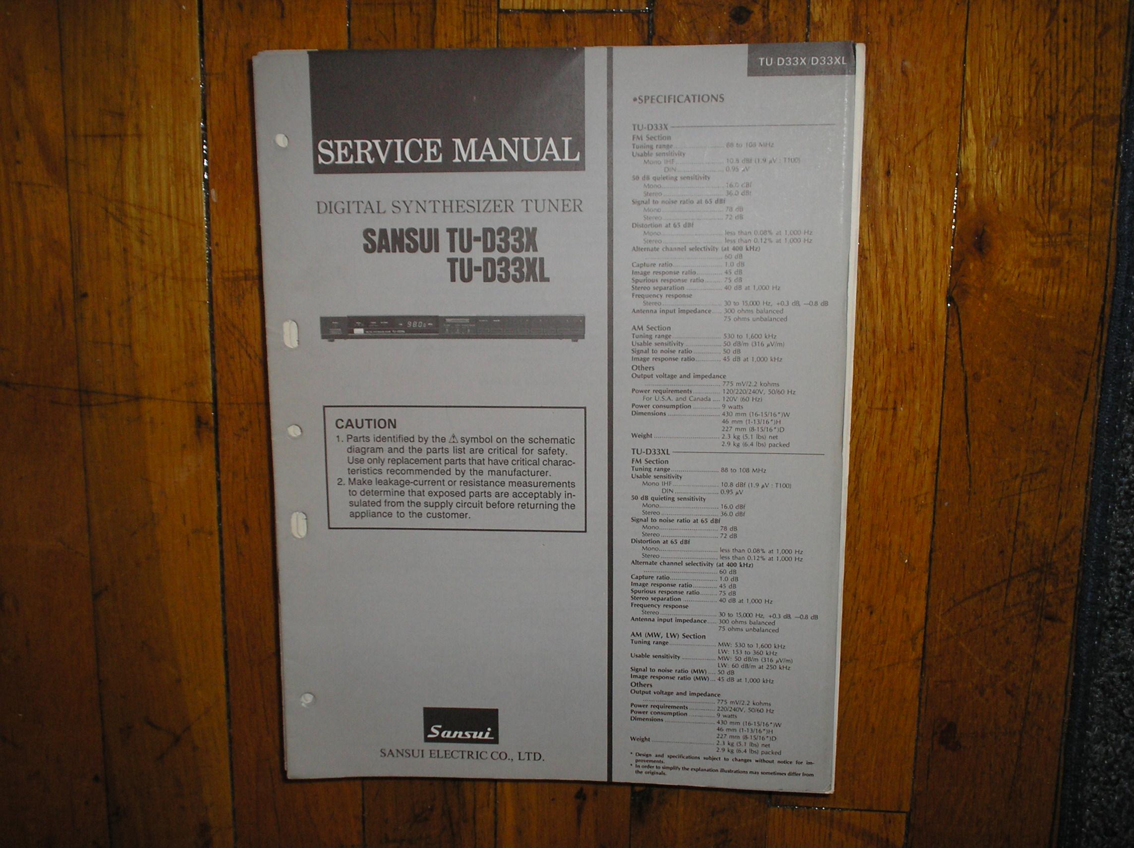 TU-D33X TU-D33XL Tuner Service Manual