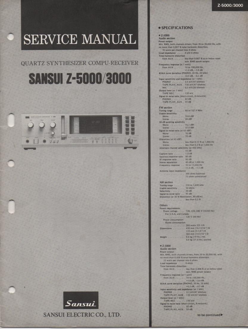 Z-3000 Z-5000 Receiver Service Manual