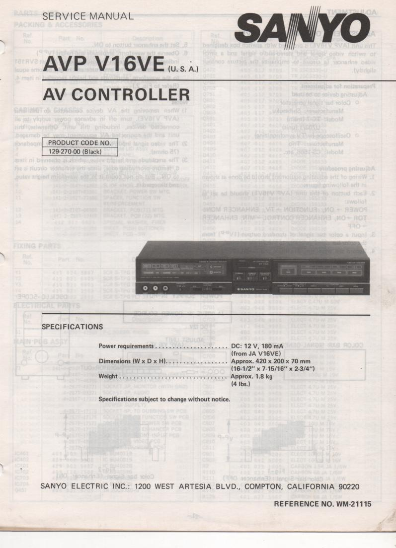 AVP V16E Audio Video Controller Service Manual