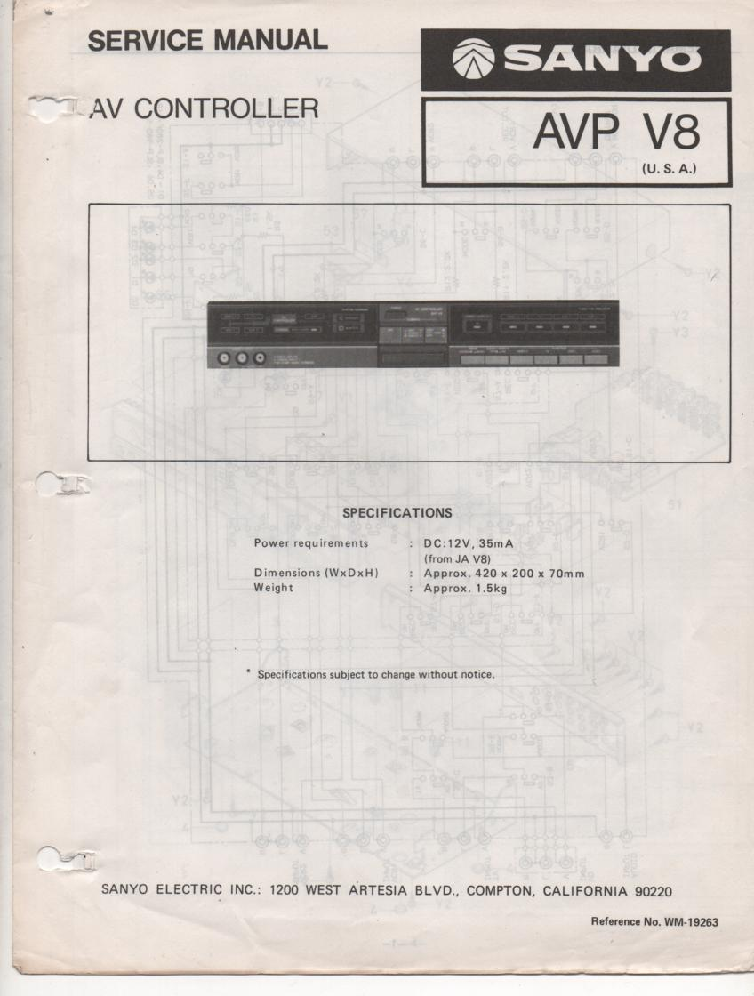AVP V8 Audio Video Controller Service Manual