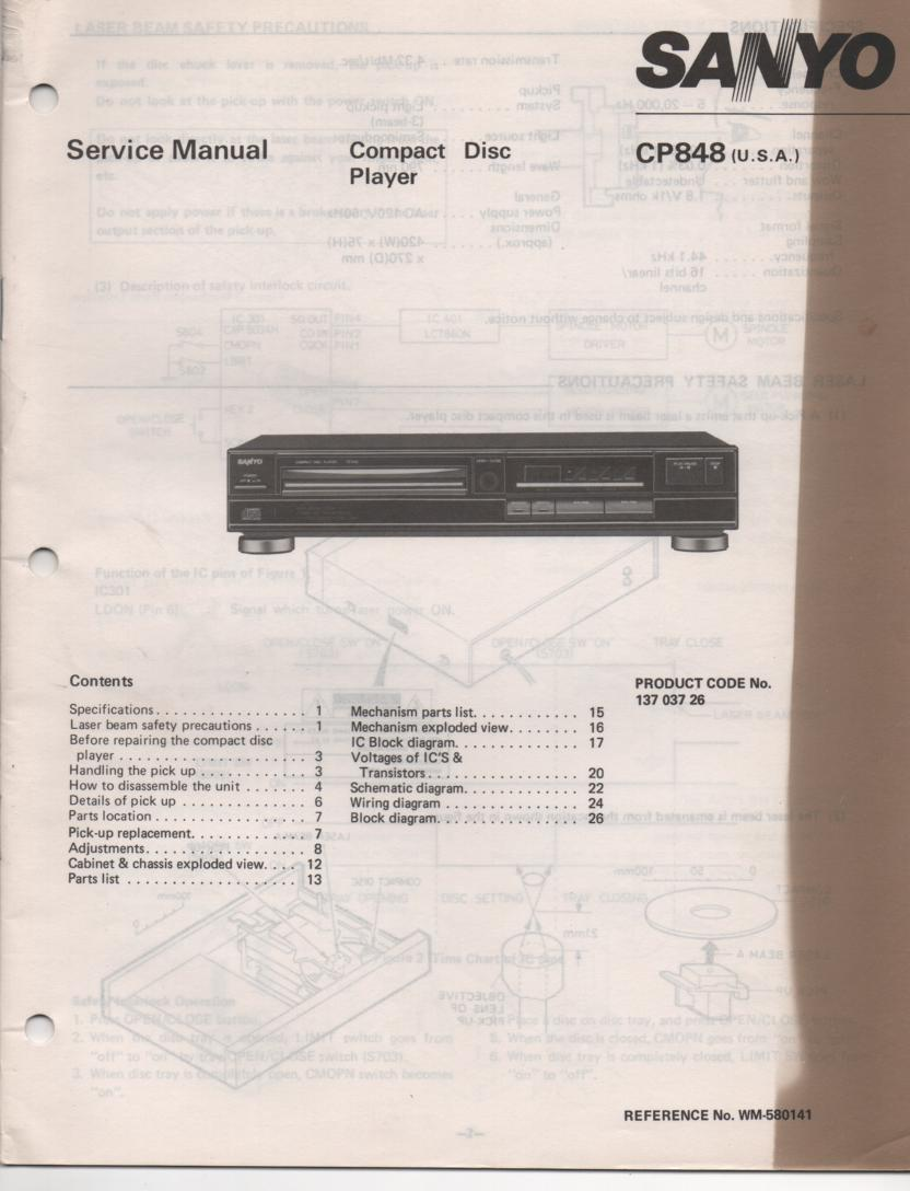 CP848 CD Player Service Manual