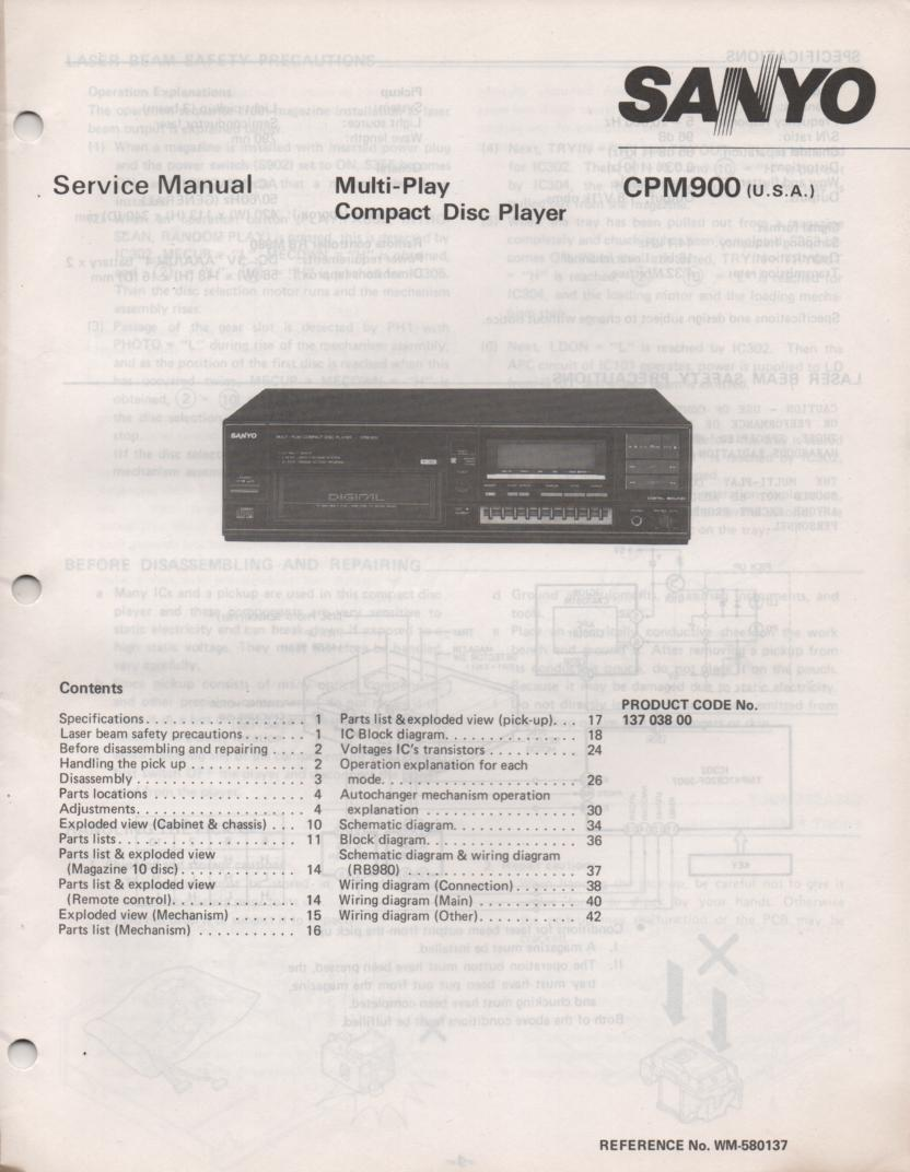 CP M900 Multi CD Player Service Manual