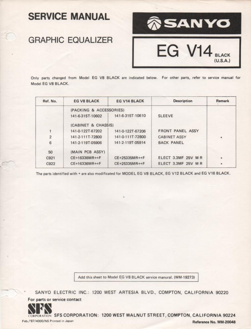 EG V14 Graphic Equalizer Service Manual