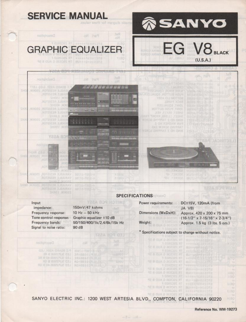 EG V8 Graphic Equalizer Service Manual