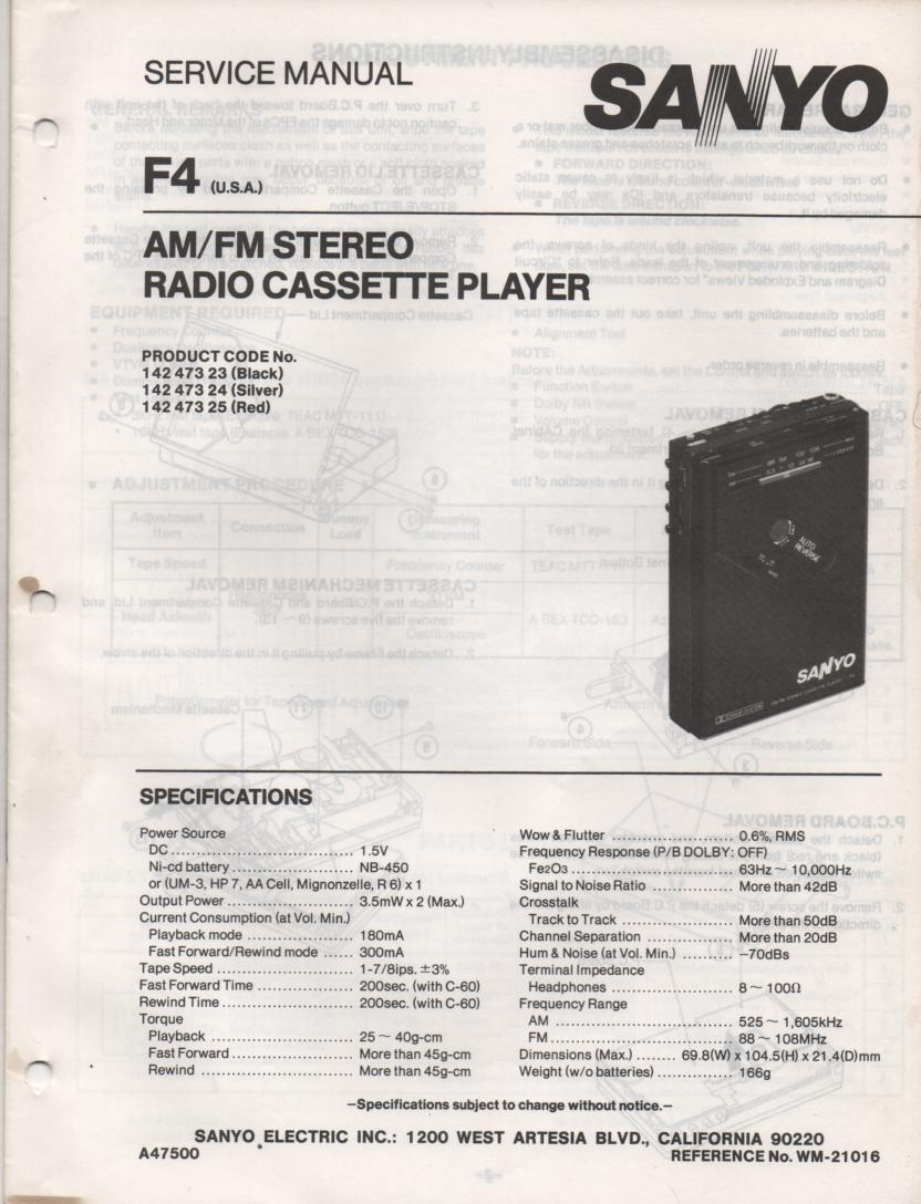 F4 AM FM Stereo Radio Cassette Player