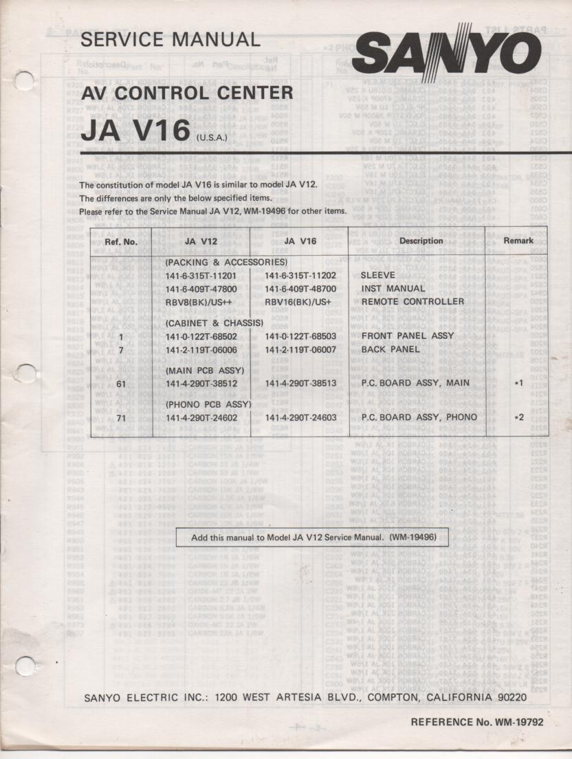 JA V16 Audio Video Control Center Service Manual. @ manuals.  Comes with JA V12 manual.