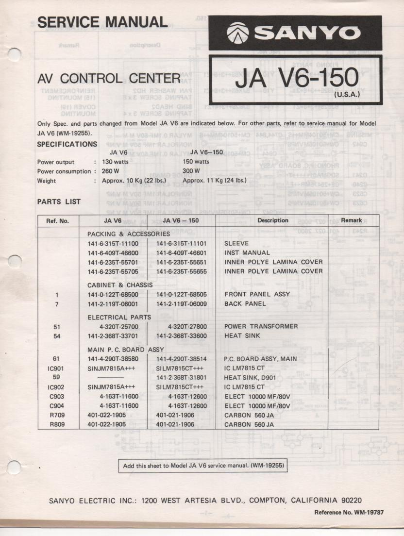 JA V6-150 Audio Video Control Center Service Manual.  Needs JA V6 Manual included..