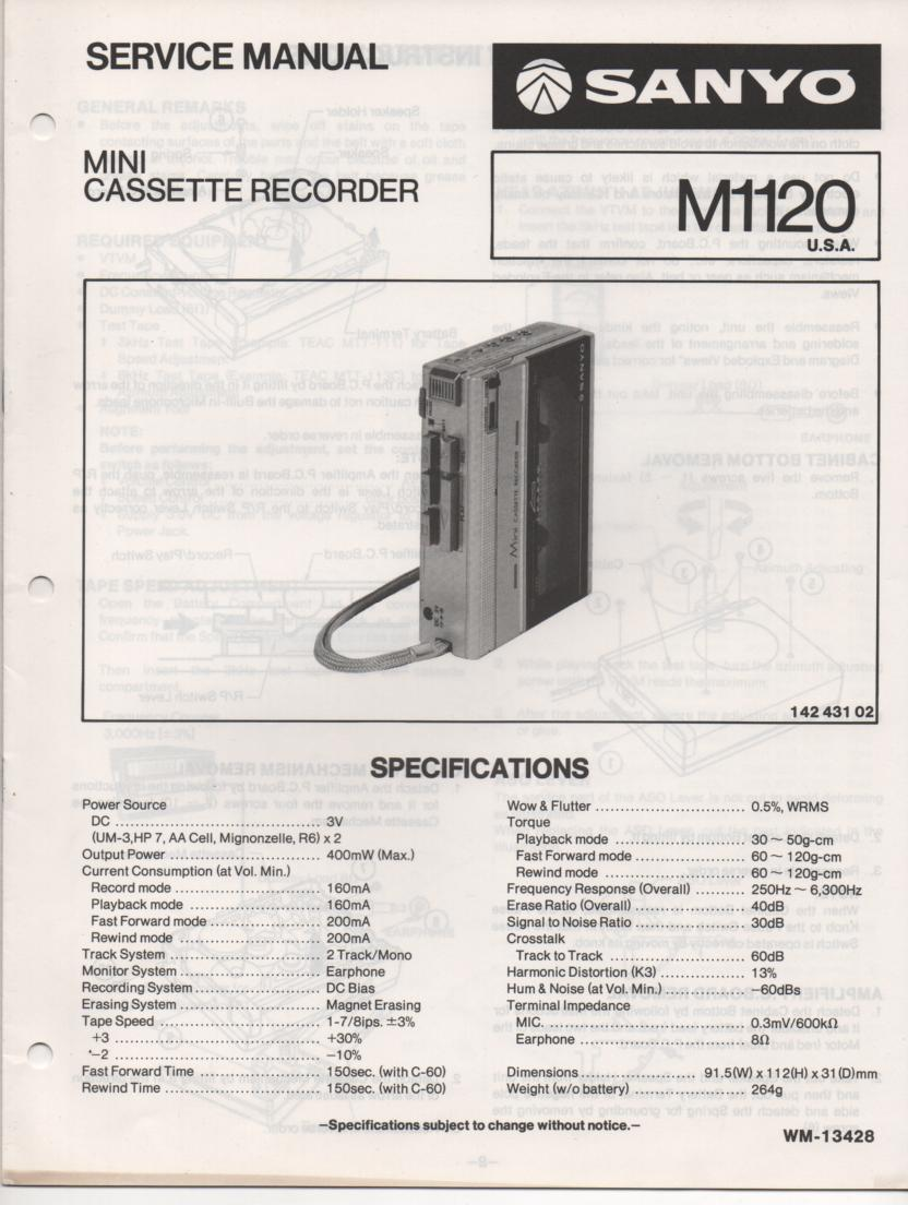 M1120 Mini Cassette Recorder Service Manual