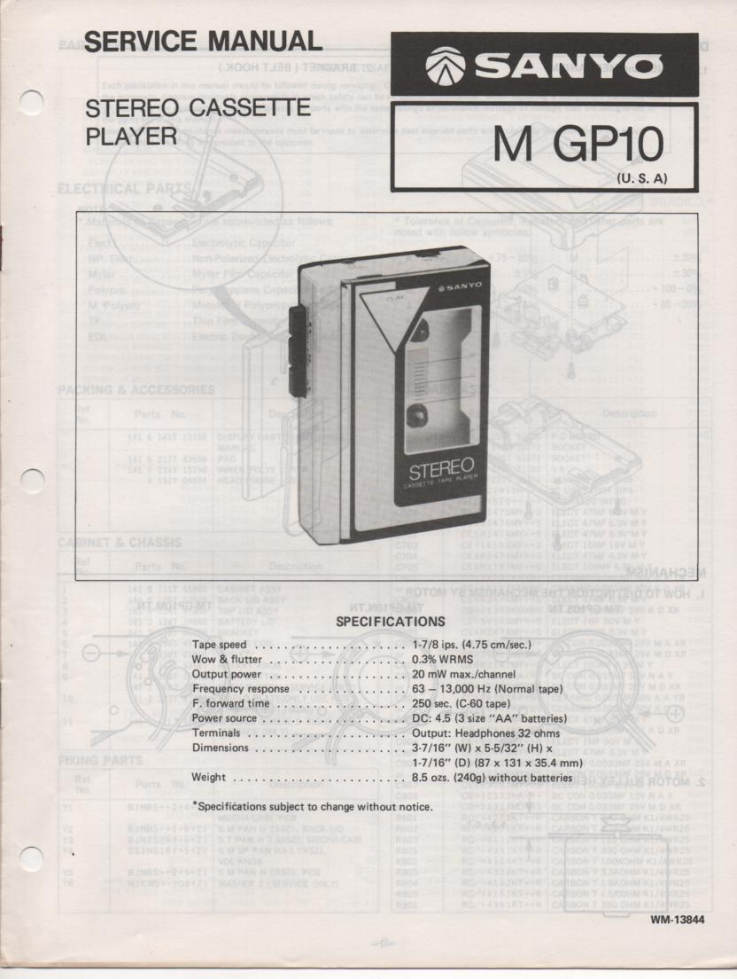 M GP10 Cassette Player Service Manual