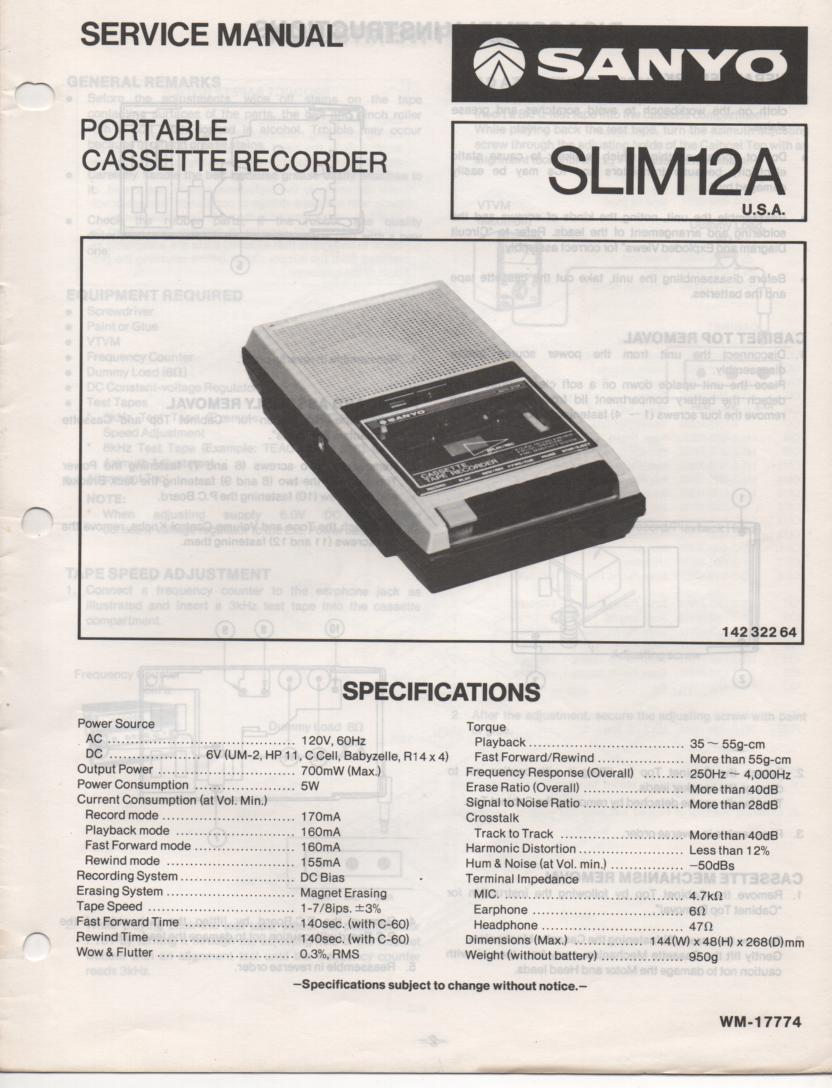 SLIM12A Cassette Deck Service Manual