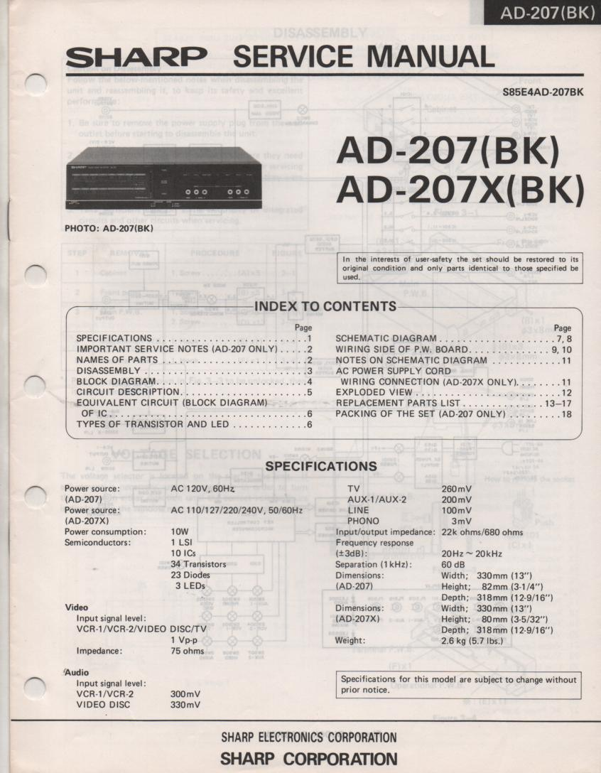 AD-207 AD-207X BK Audio Video Amplifier Service Manual
