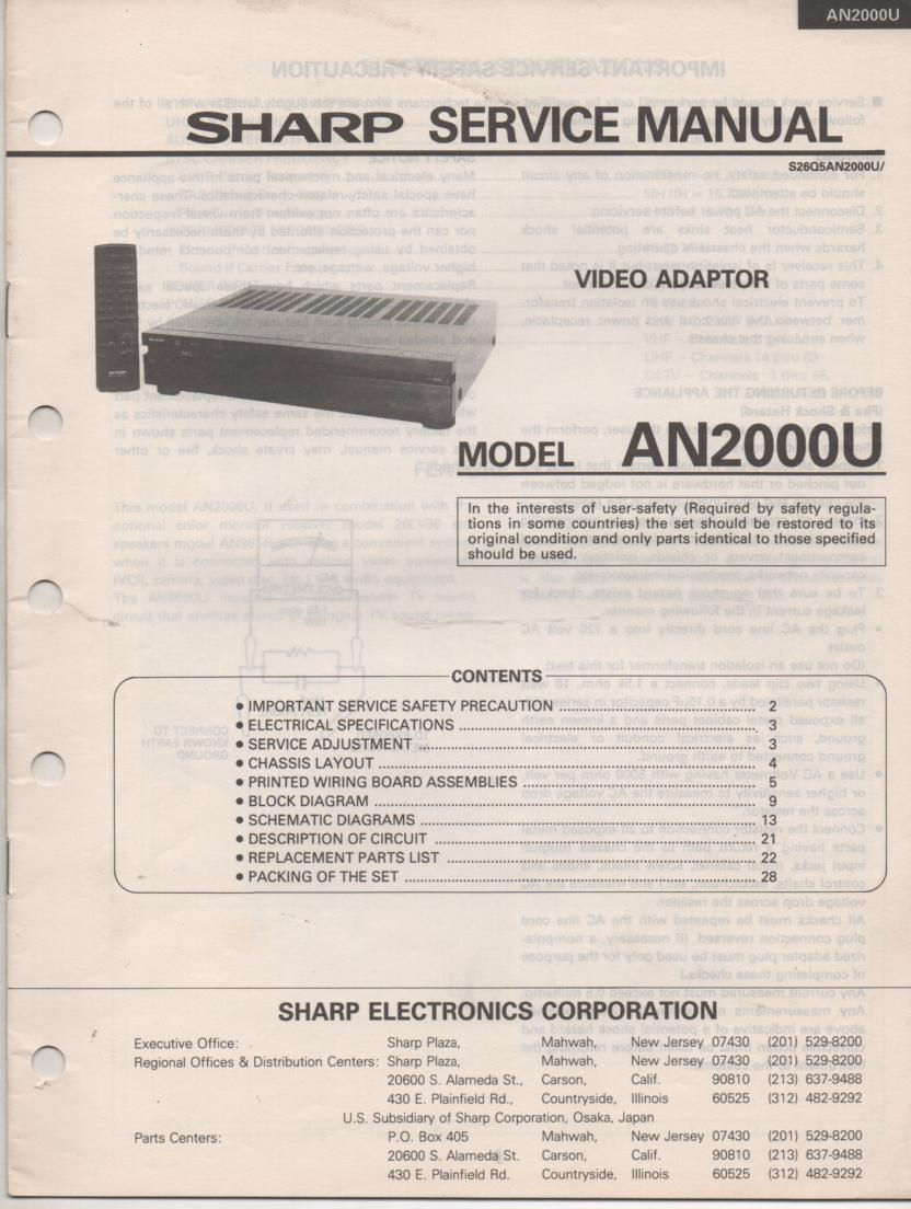 AN-2000U Video Adaptor Service Manual