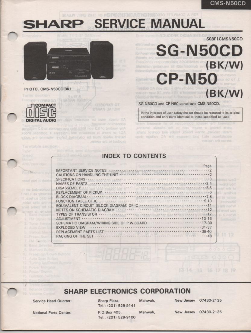 CMS-N50CD BK CP-N50 SG-N50CD Stereo System Service Manual