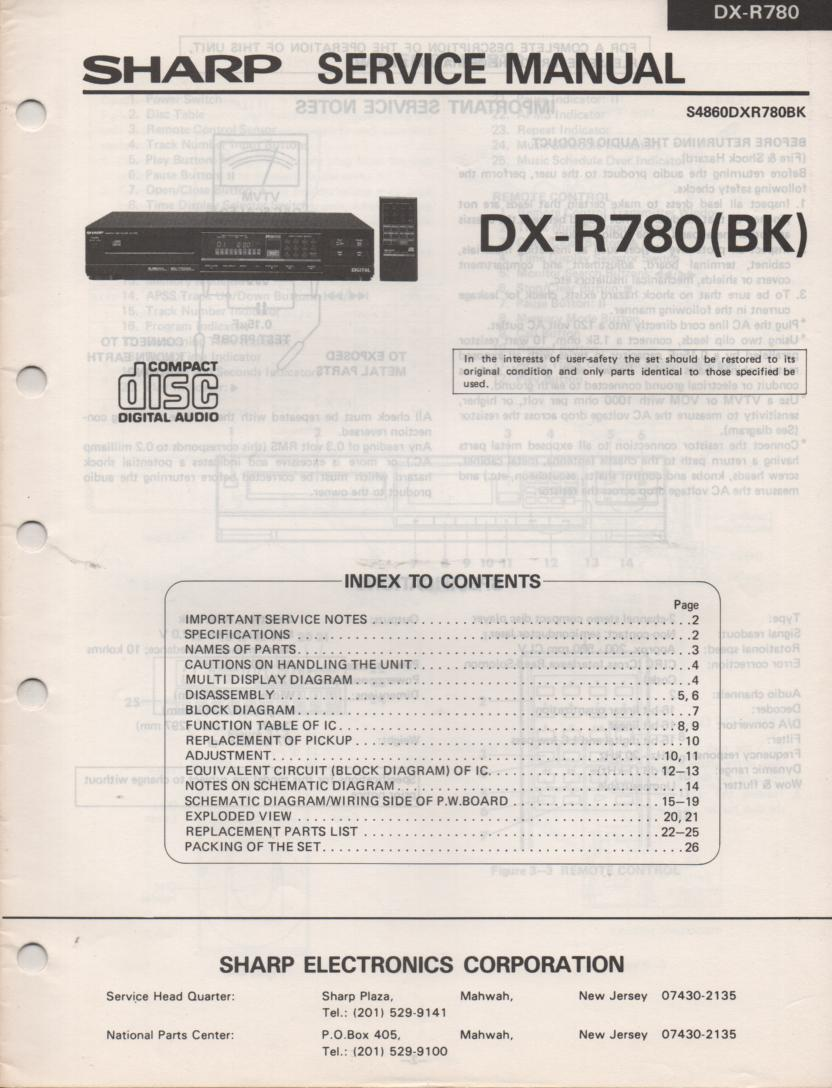 DX-R780BK CD Player Service Manual