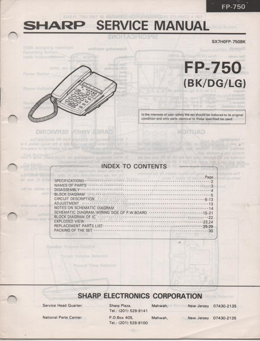 FP-750 Telephone Service Manual