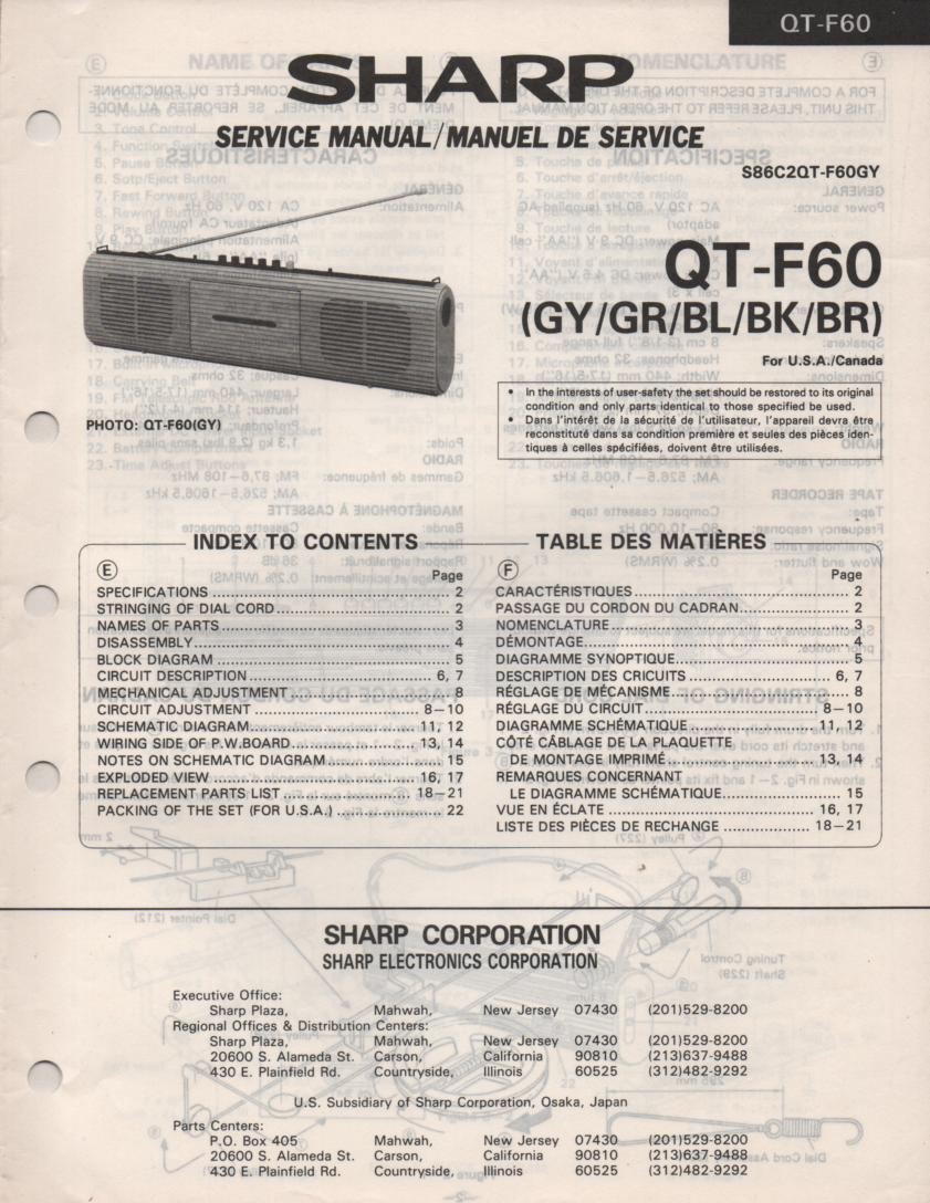QT-F60 Radio Service Manual