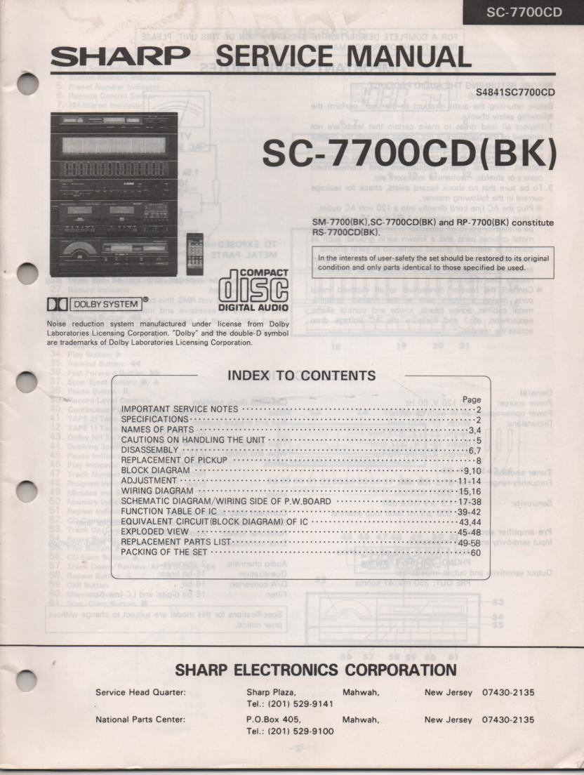 RS-7770CD(BK) SC-7770CD RP-7770CD Stereo System Service Manual