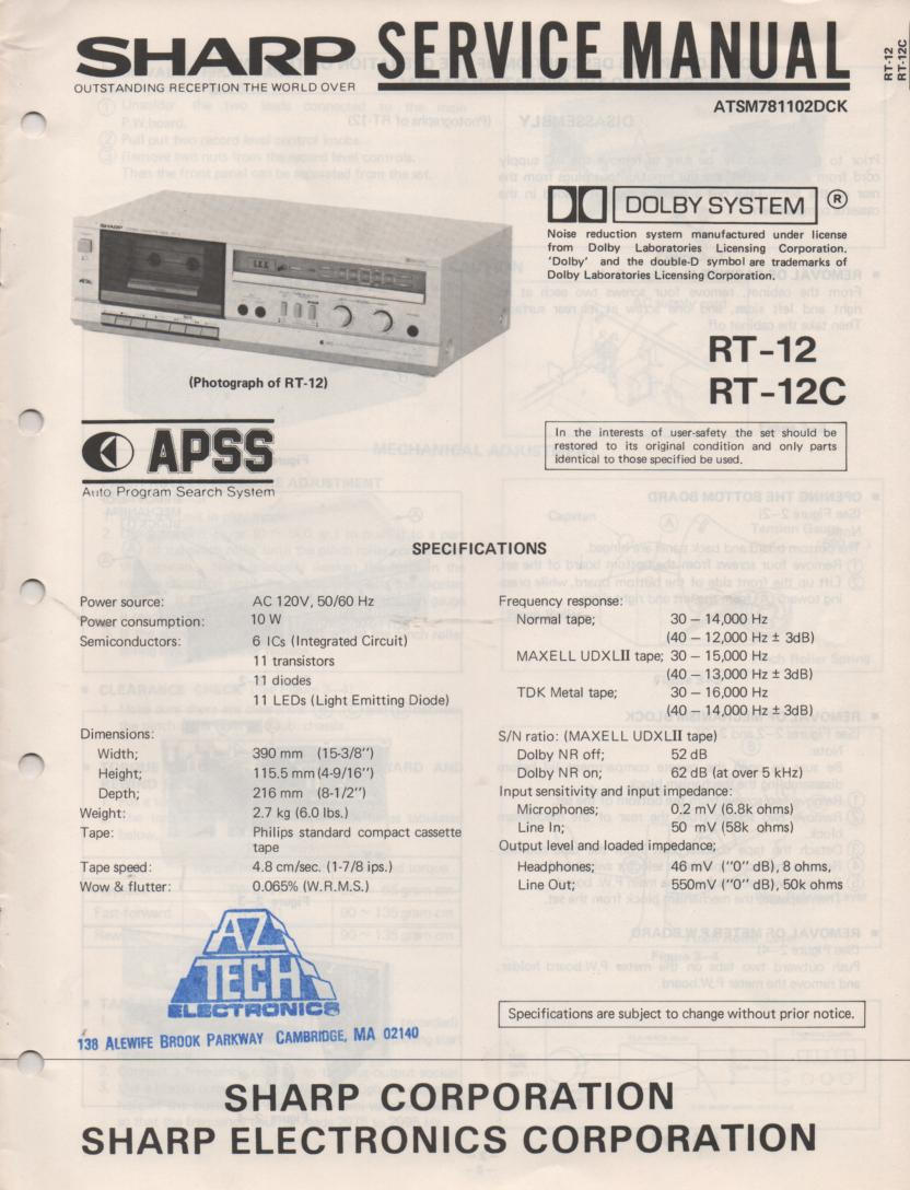 RT-12 RT-12C Cassette Deck Service Manual
