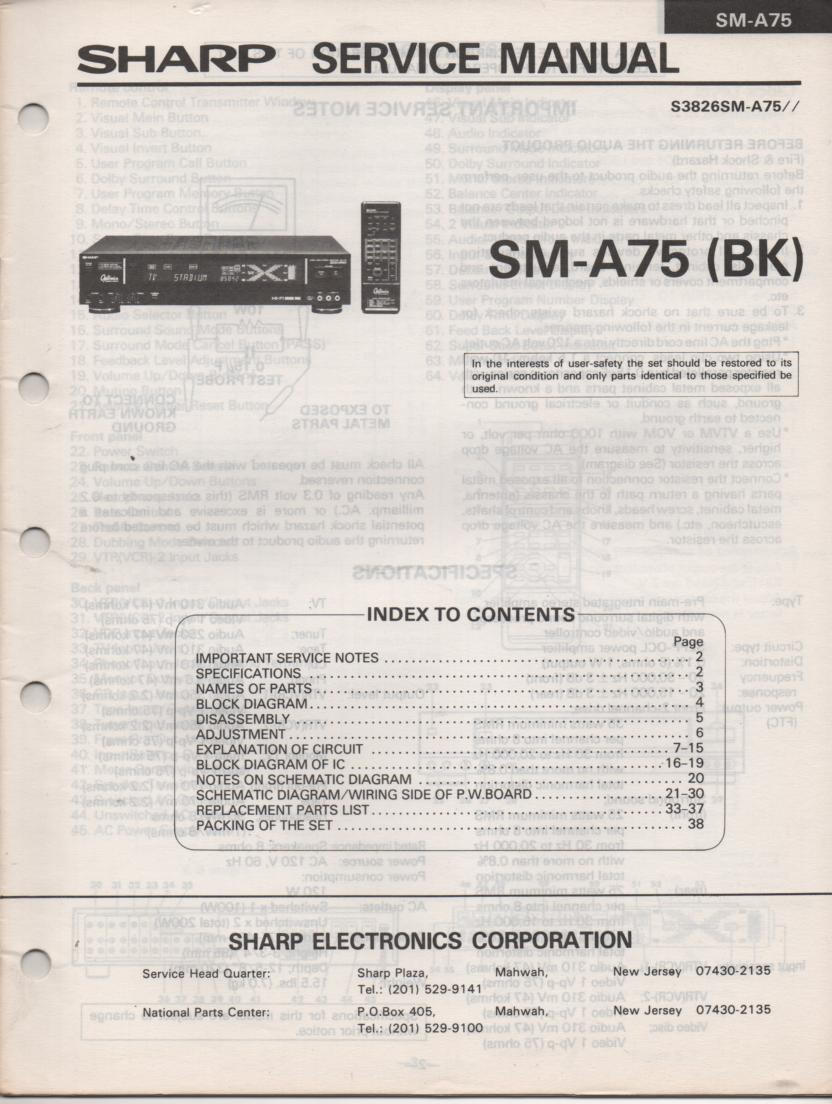 SM-A75 BK Audio Video Amplifier Service Manual