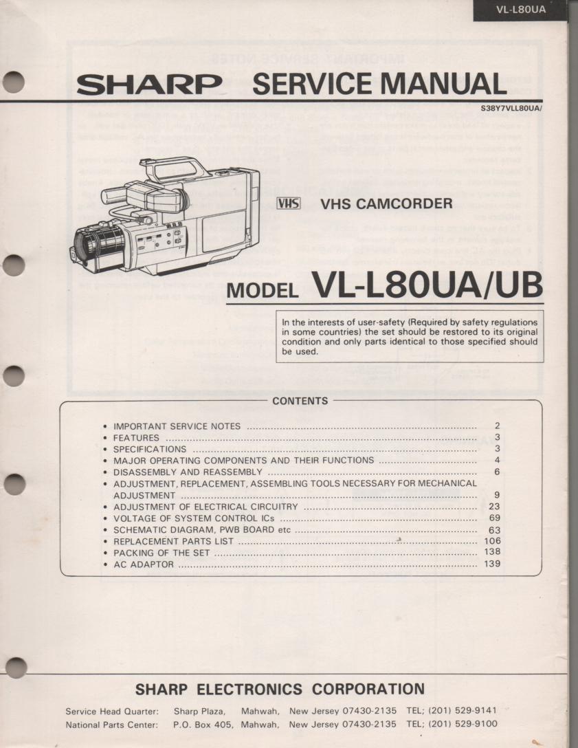 VL-L80UA VL-L80UB VHS Camcorder Service Manual
