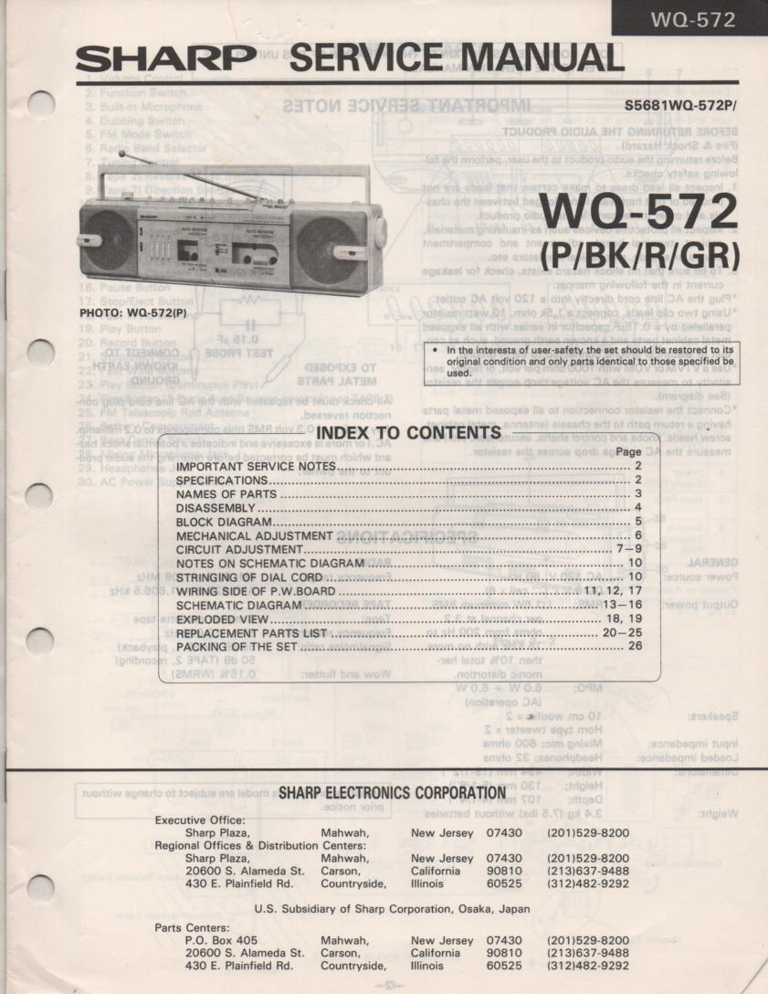 WQ-572 Radio Service Manual