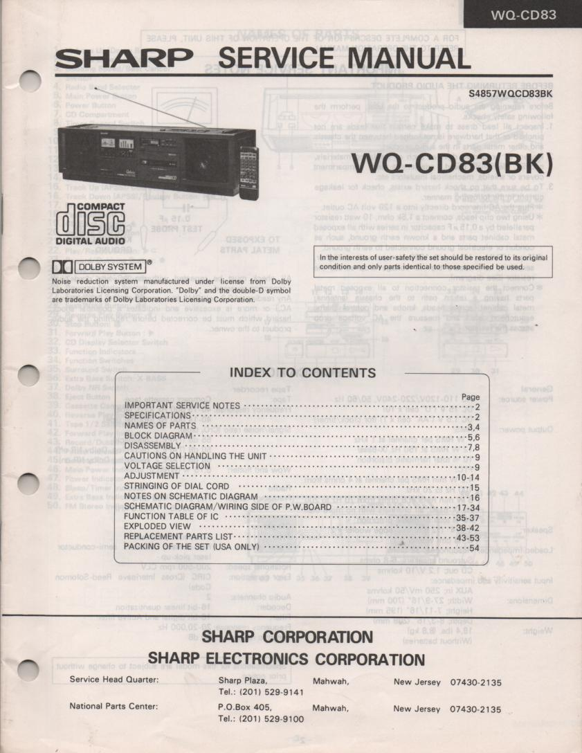 WQ-CD83 CD Radio Service Manual
