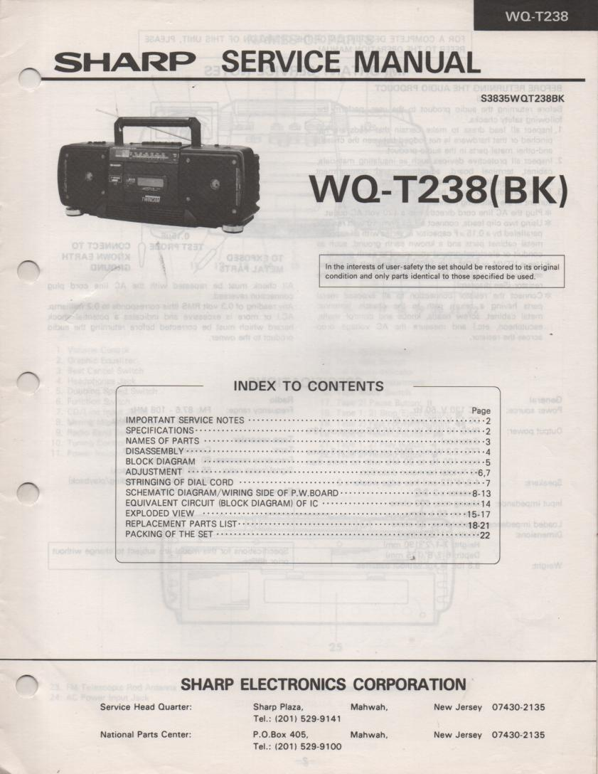 WQ-T238 Radio Service Manual
