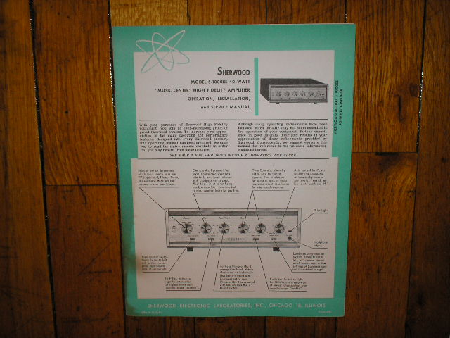 S-1000 III 40 Watt Amplifier Operation, Installation and Service Manual for Serial no. 312507 and up.. Tubes are 2  7868  2 6EU7 1 6K11