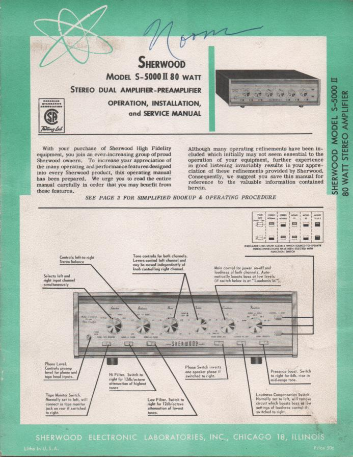 S-5000II S-5000 II Amplifier Operating Installation and Service Manual for Serial No. 545200 and Up.