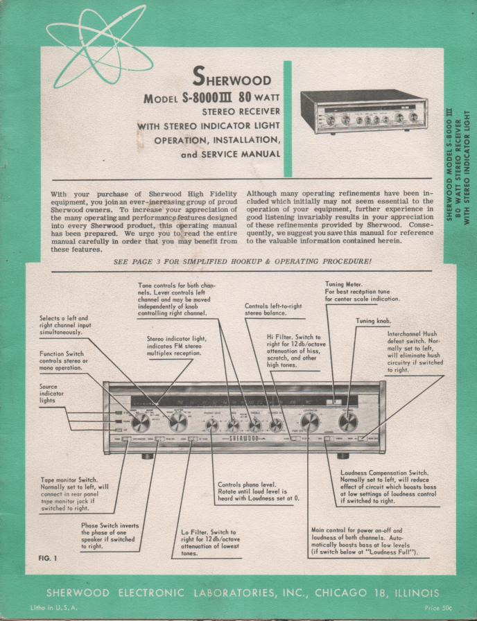 S-8000III S-8000 III Receiver Operating Installation and Service Manual for Serial No.837501 and up. Tubes in this unit are as follows..