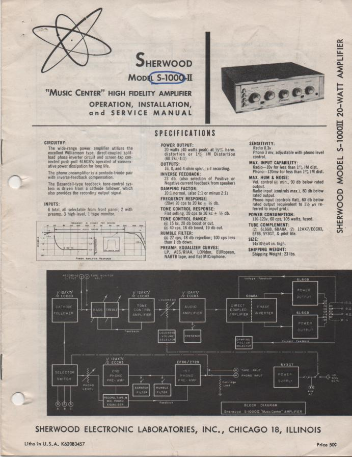 S-1000 II Amplifier Operating Installation and Service Manual 1..