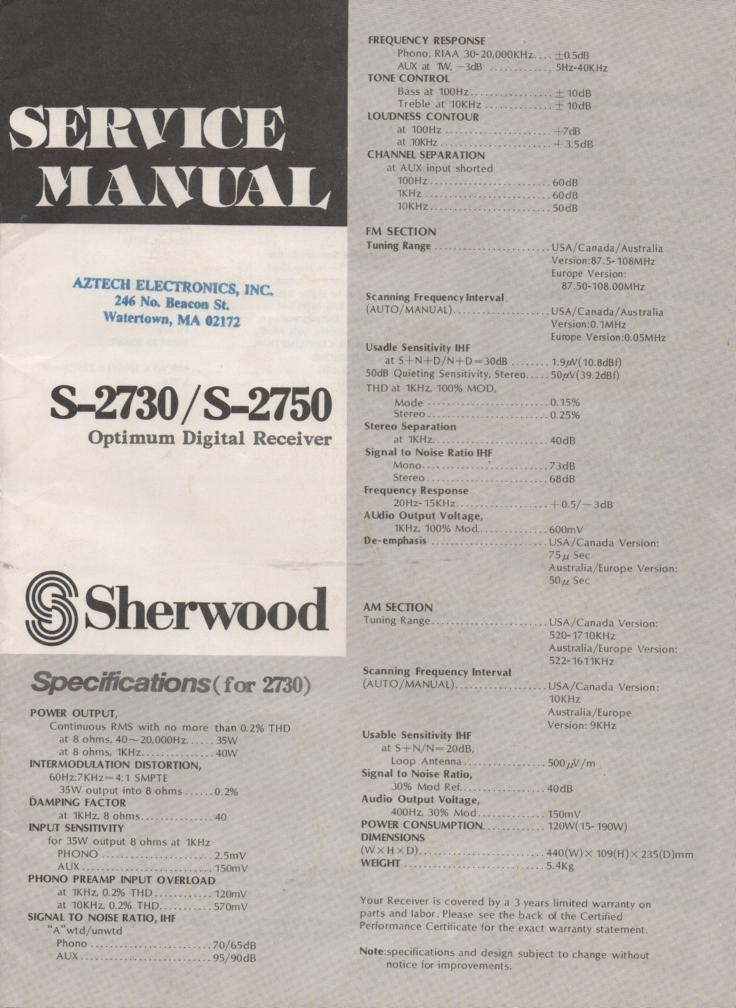 S-2750 Receiver Service Manual