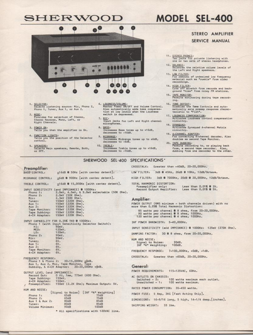 SEL-400 Amplifier Service Manual for Serial No.4A41001-4A41550