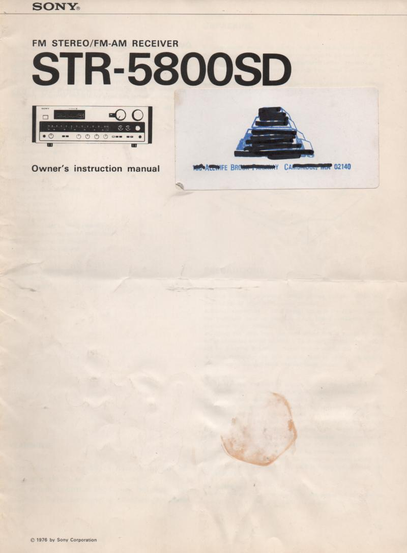 STR-5800SD Receiver Owners Instruction Manual