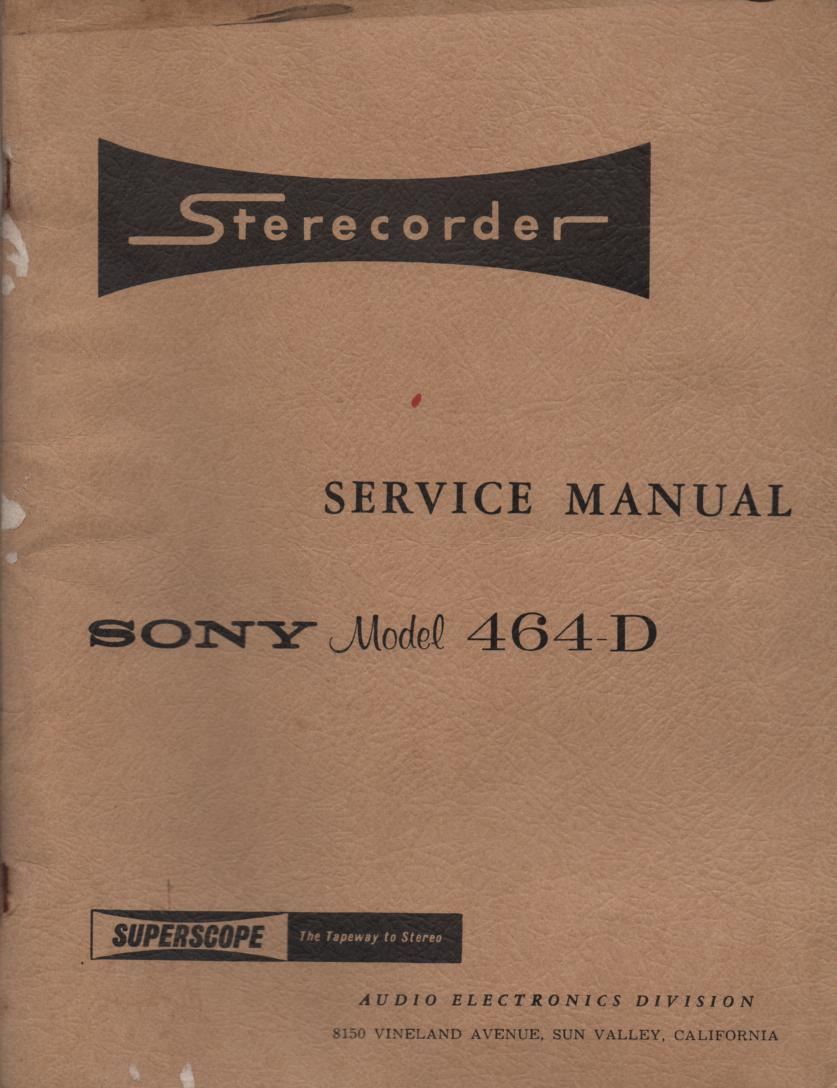 464-D Reel to Reel Service Manual