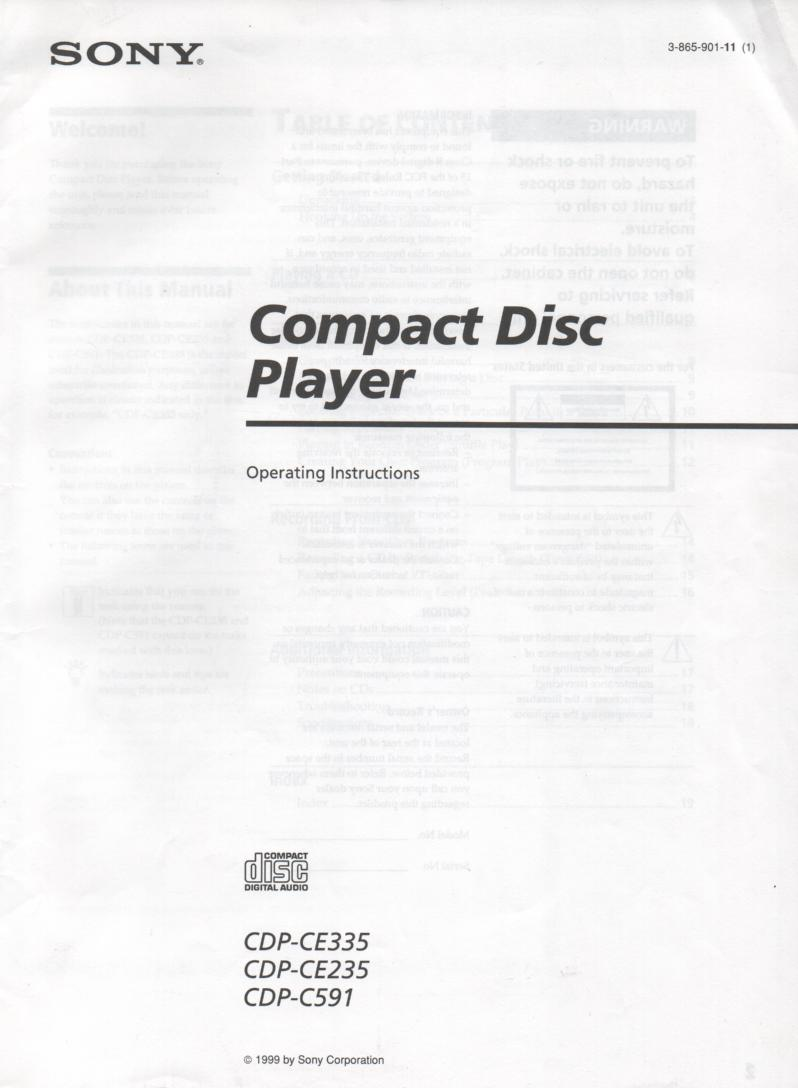CDP-C591 CDP-CE235 CDP-CE335 CD Player Owners Instruction Manual