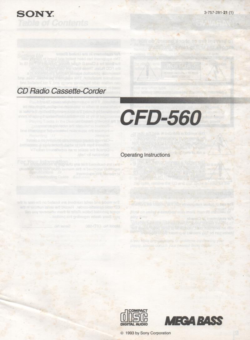 CFD-560 Radio Cassette Recorder Owners Manual