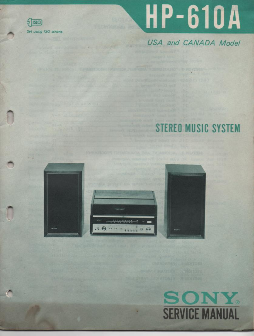 HP-610A HP610 Stereo System Service Manual