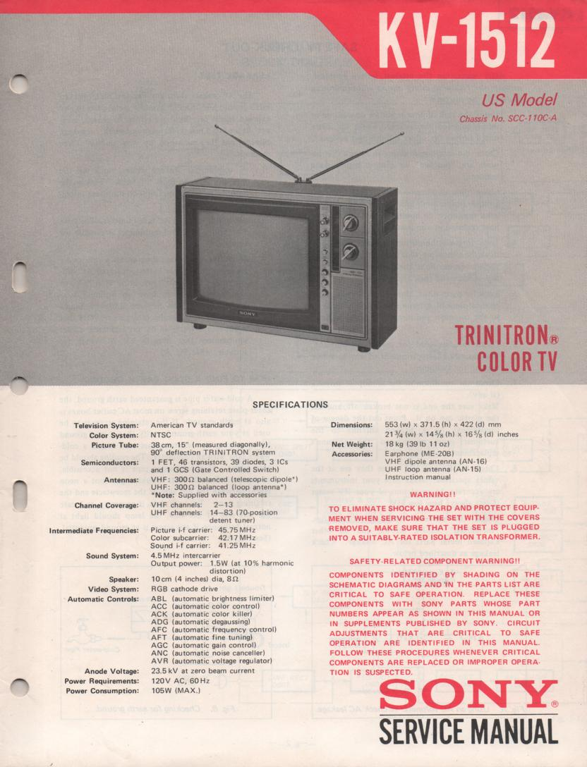 KV-1512 TV Service Manual with schematics..