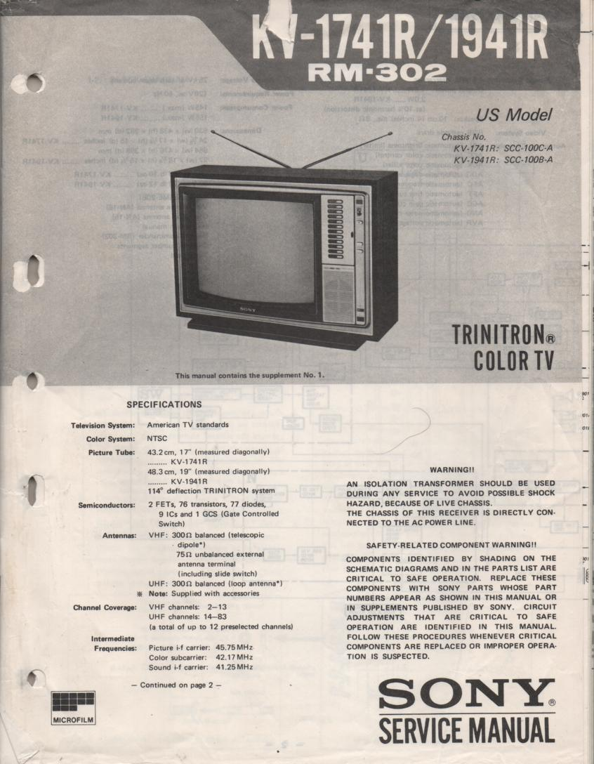 KV-1741R KV-1941R TV Service Manual with schematics..
