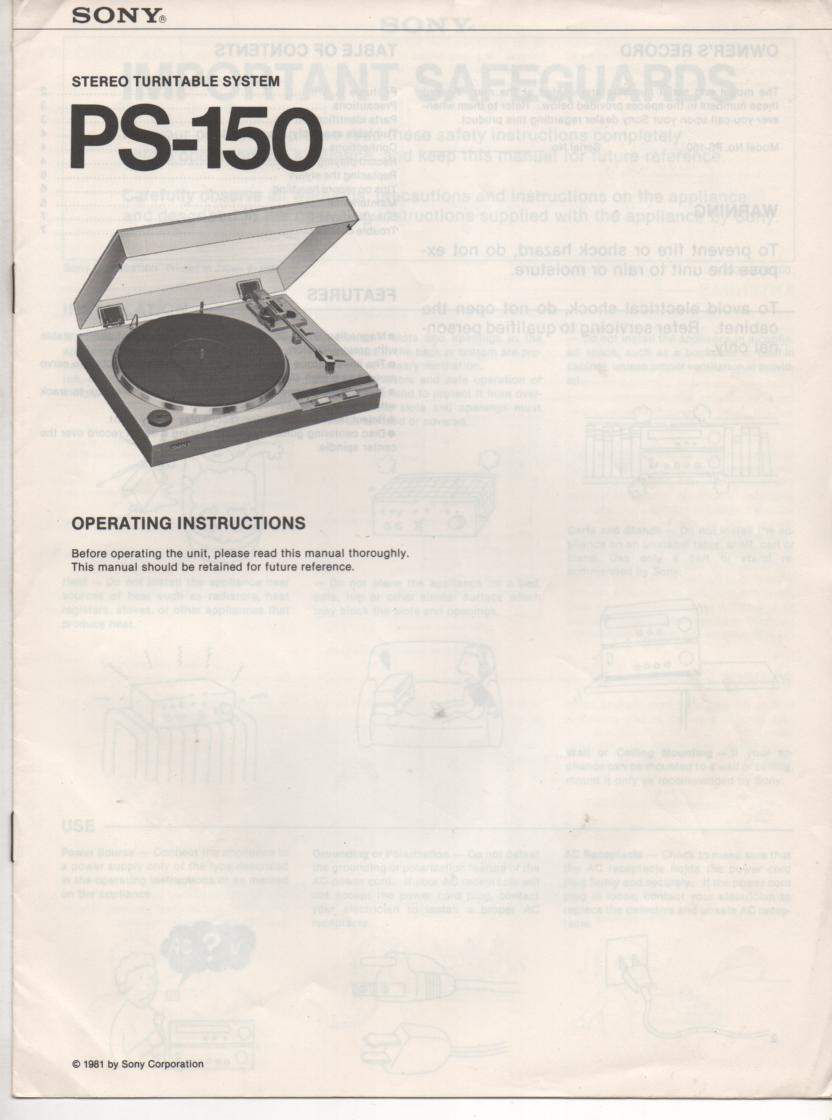 PS-150 Turntable Operating Instruction Manual