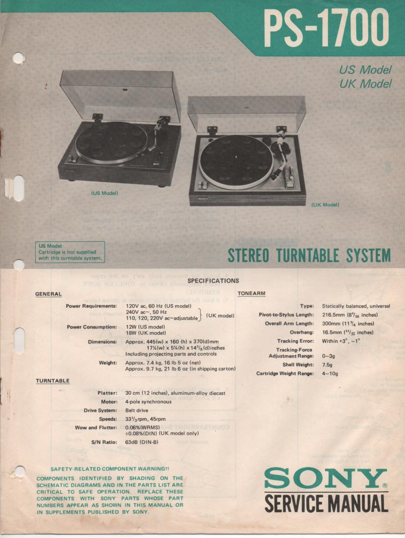 PS-1700 Turntable Service Manual