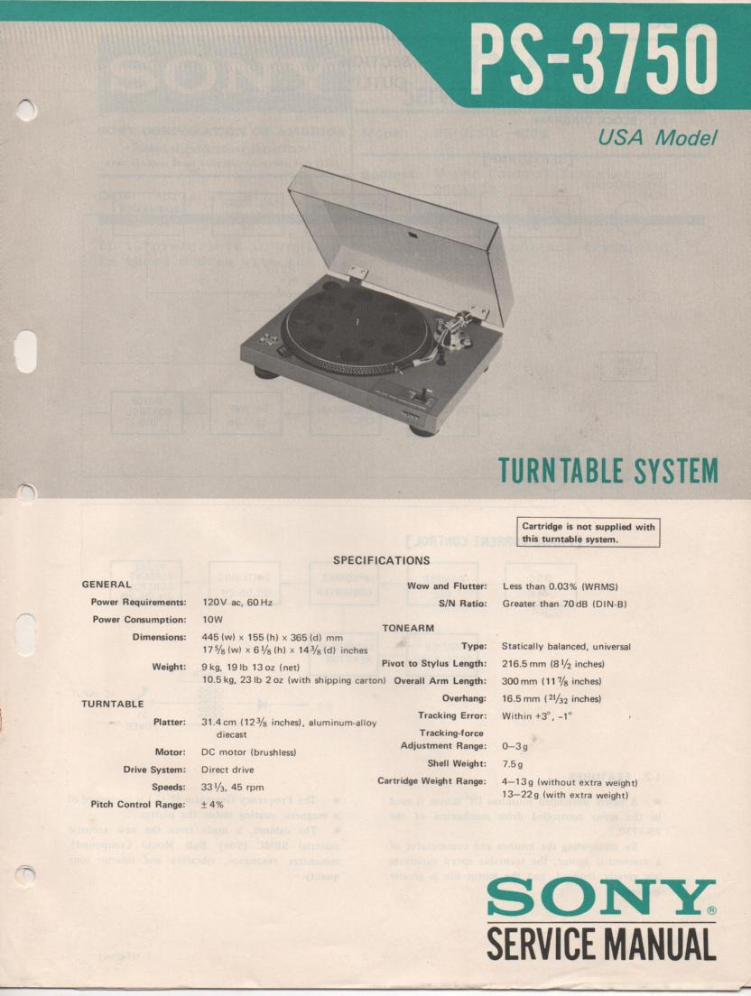 PS-3750 Turntable Service Manual