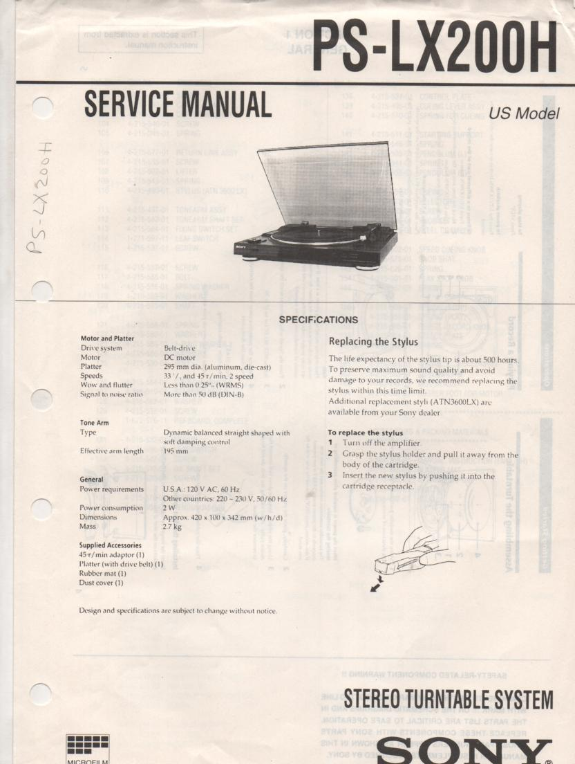 PS-LX200H Turntable Service Manual