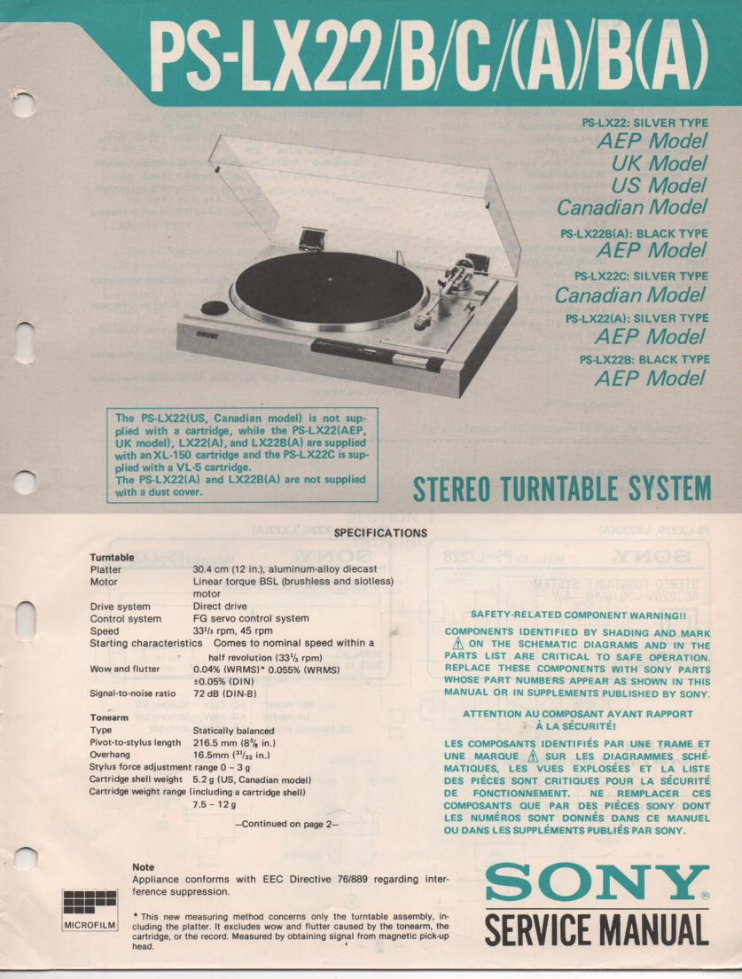 PS-LX22A PS-LX22B PS-LX22C Turntable Service Manual