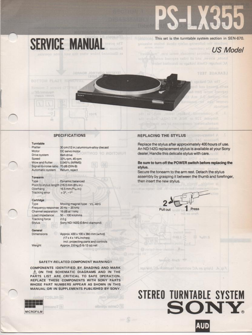 PS-LX355 Turntable Service Manual