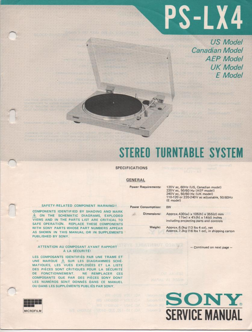 PS-LX4 Turntable Service Manual