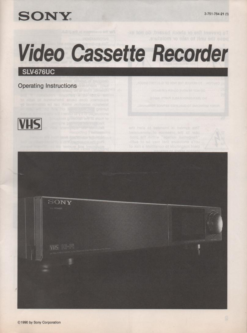 SLV-676UC VCR Owners Operating Instruction Manual