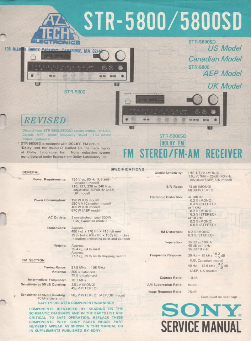 STR-5800 STR-5800SD Receiver Service Manual